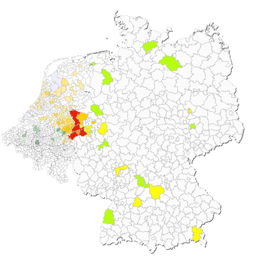 Naus per gemeente NL2007-BE2008-GE2008