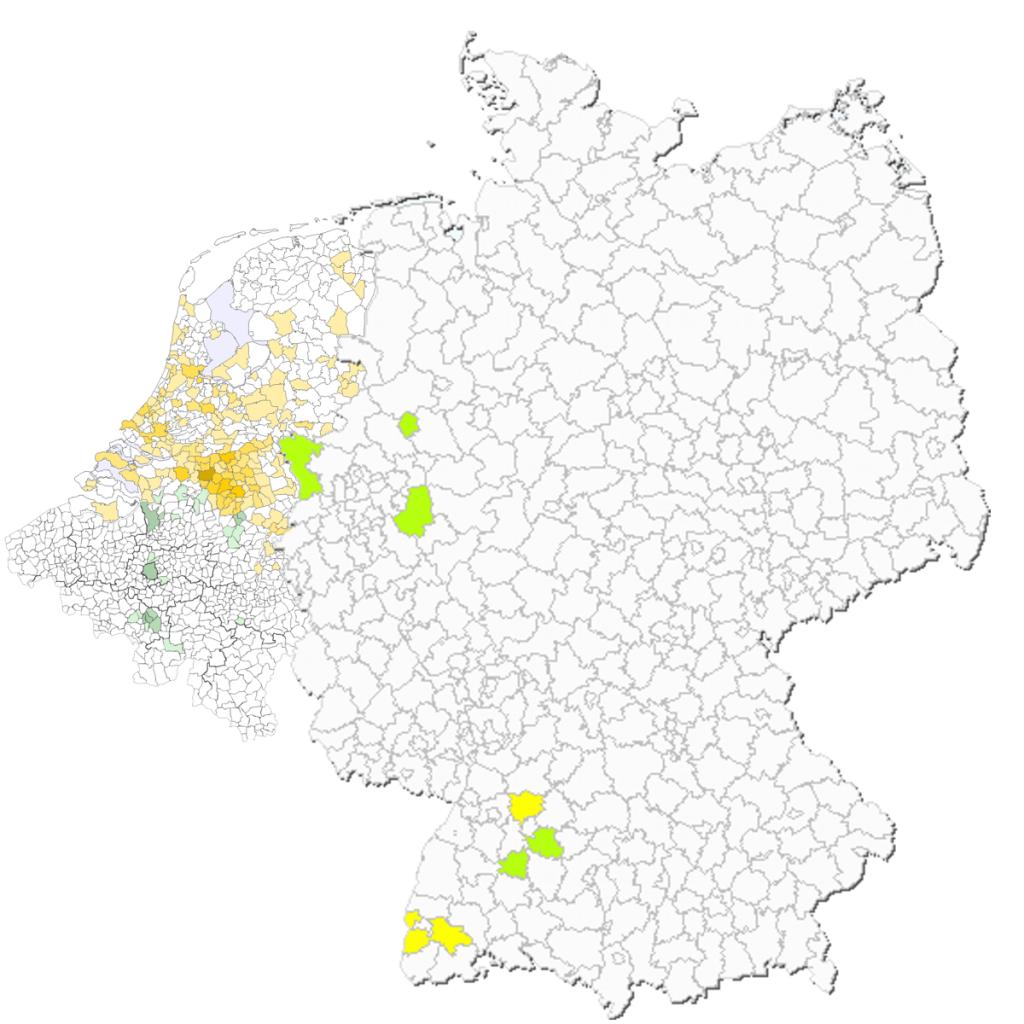 Nouwens per gemeente NL2007, BE2008, GE 2008