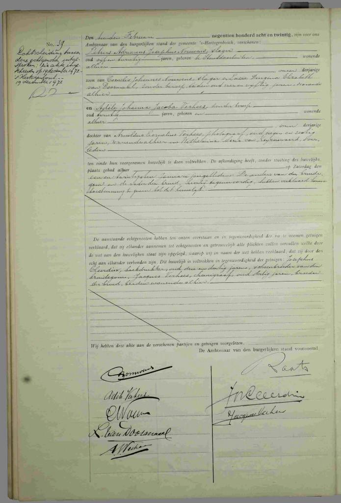 Huwelijk Piet Nouwens - Adele Verhees - 10 feb 1928 - 19 dec 1972
