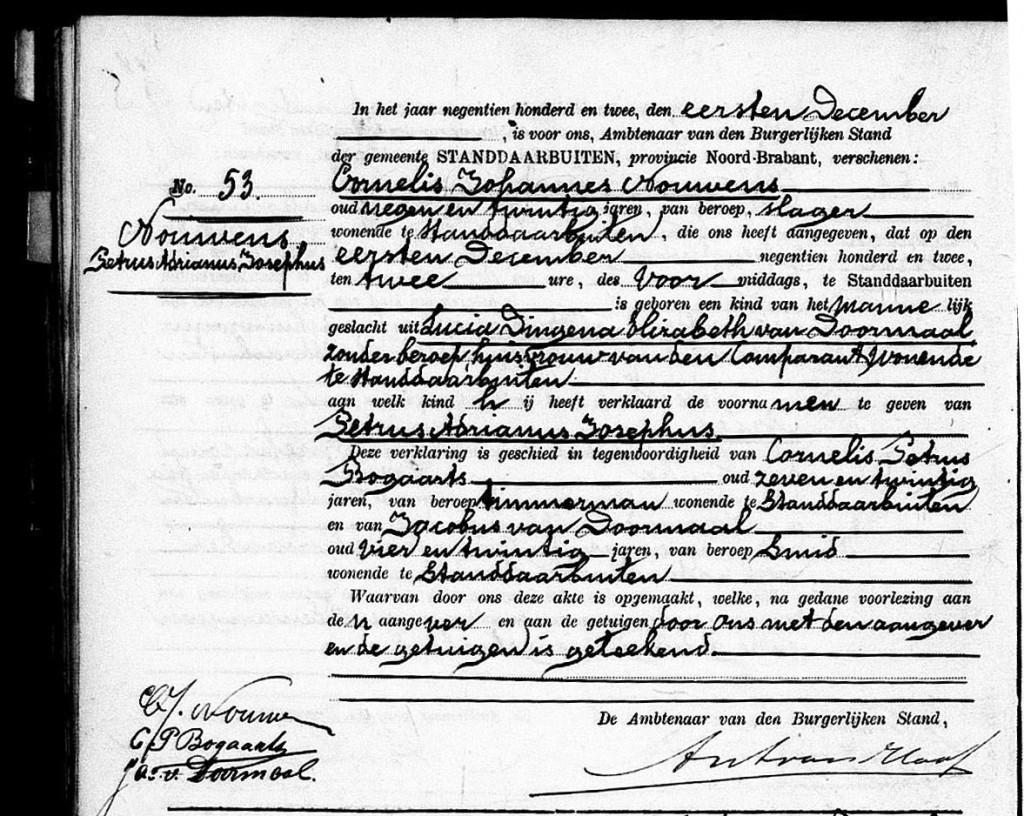 geboorte Petrus Adrianus Josephus Nouwens - 01-12-1902