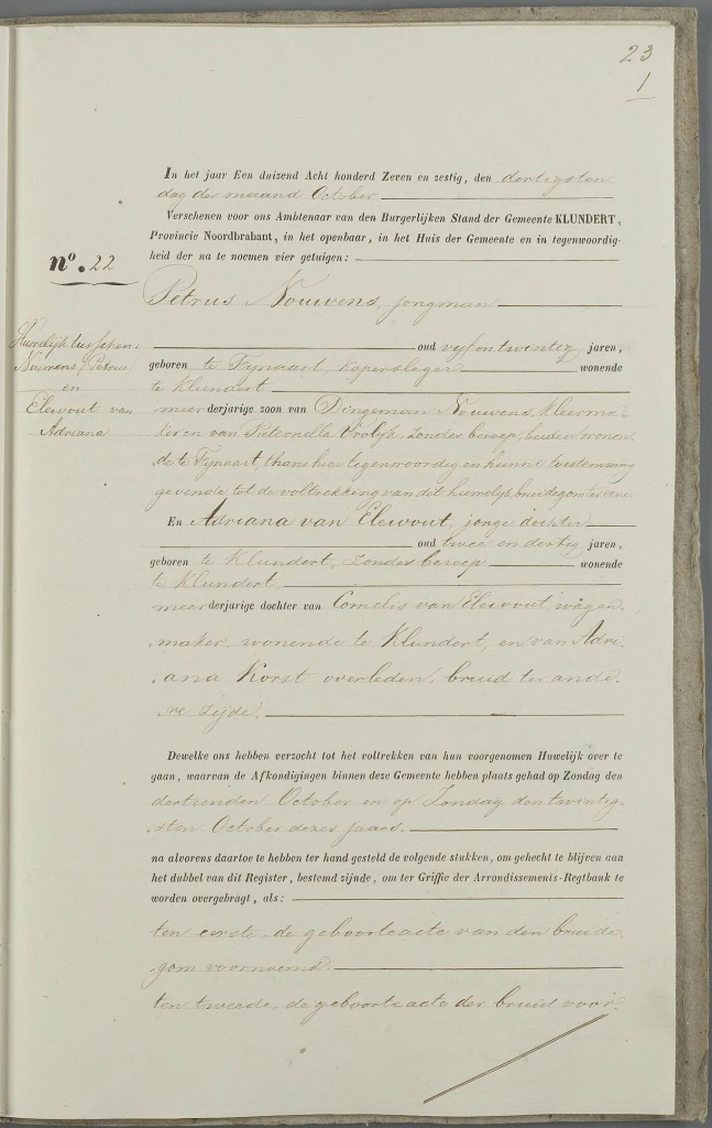 Huwelijk Petrus Nouwens - Adriana van Elewout, 30-10-1867, aktenummer 22 -p1