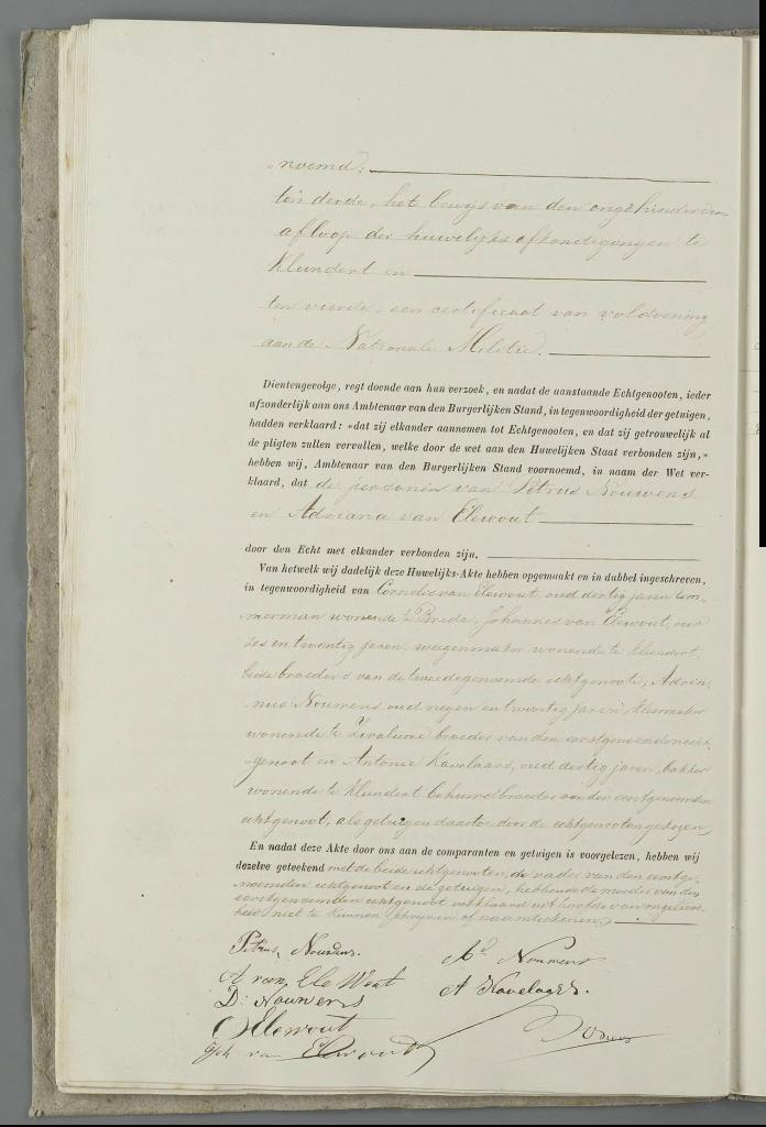 Huwelijk Petrus Nouwens - Adriana van Elewout, 30-10-1867, aktenummer 22