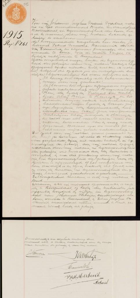 testament Johannes Petrus Nouwens 1915