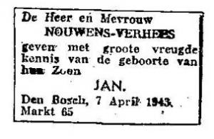 geboorte Jan Nouwens