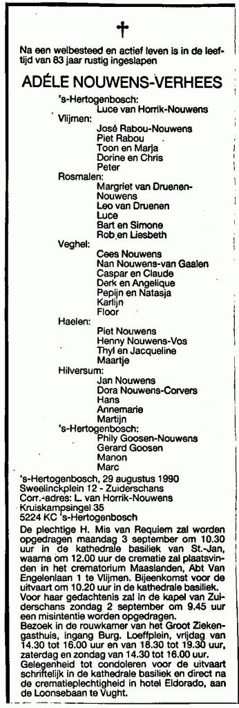 overlijden Adèle Nouwens-Verhees 1990