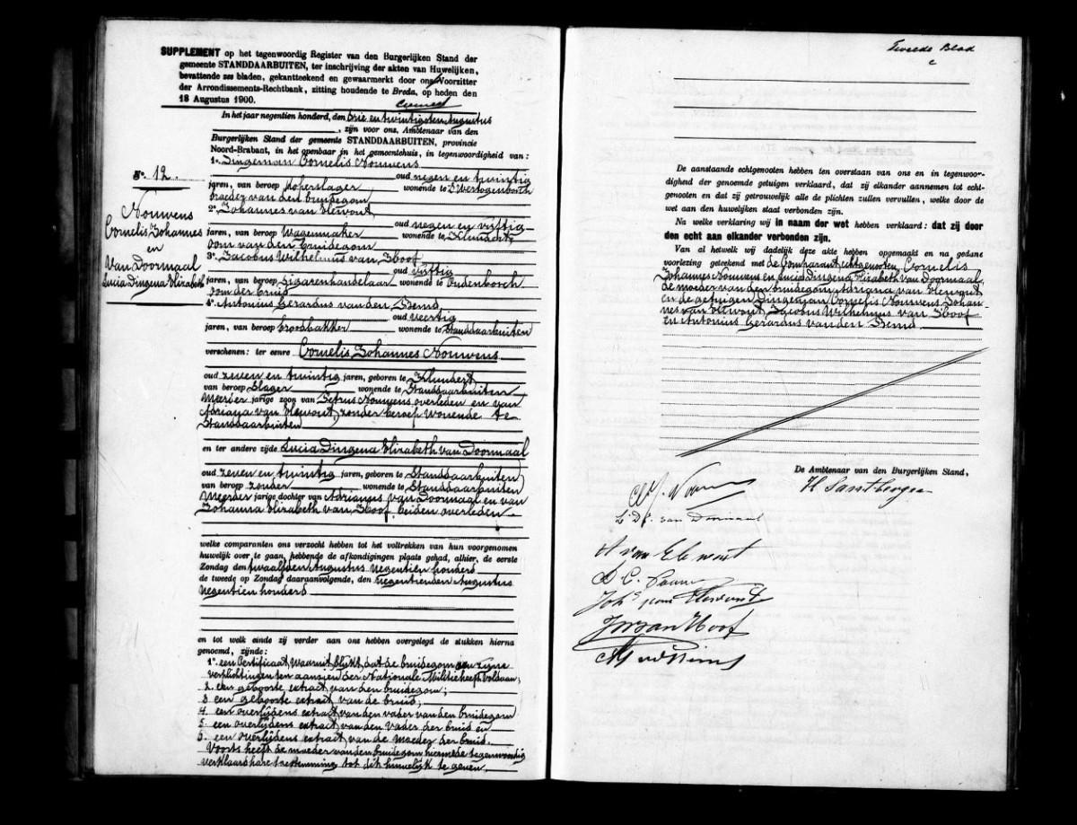 Huwelijk Cornelis Johannes Nouwens en Lucia Dingena Elizabeth van Doormaal - 20 aug 1900