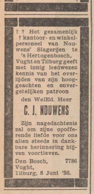 Overlijden CJ Nouwens 1936