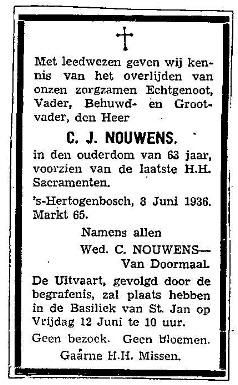 Overlijden Cornelis Johannes Nouwens - 9 juni 1936 adv