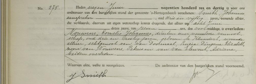 overlijden Cornelis Johannes Nouwens 9 juni 1936