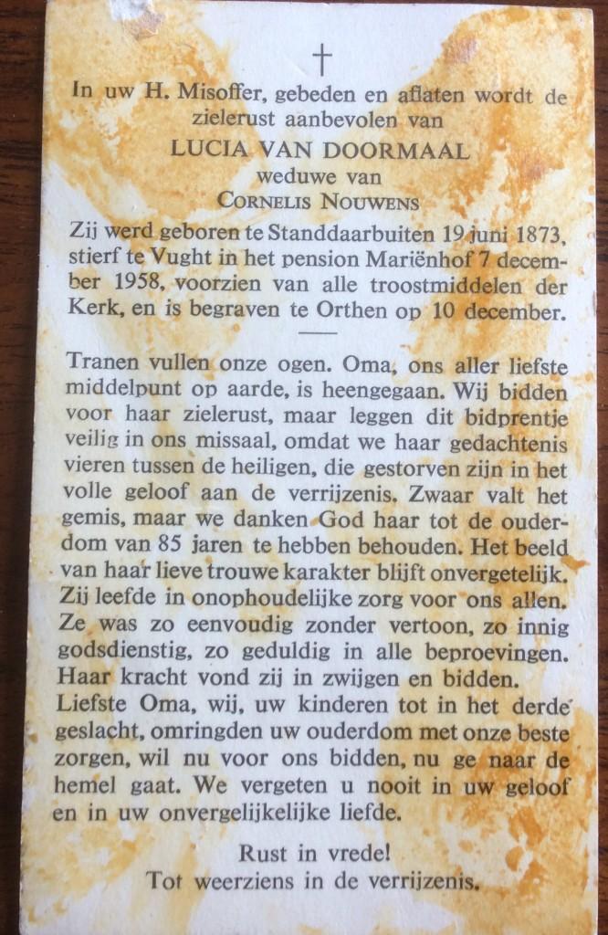 overlijden Lucia van Doormaal 7 dec 1958 - p2