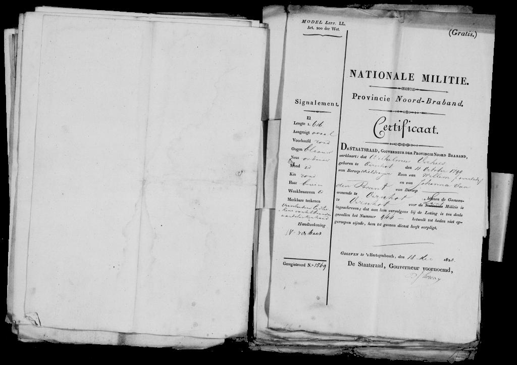 Wilhelmus Verhees 1790 certificaat Nationale Militie