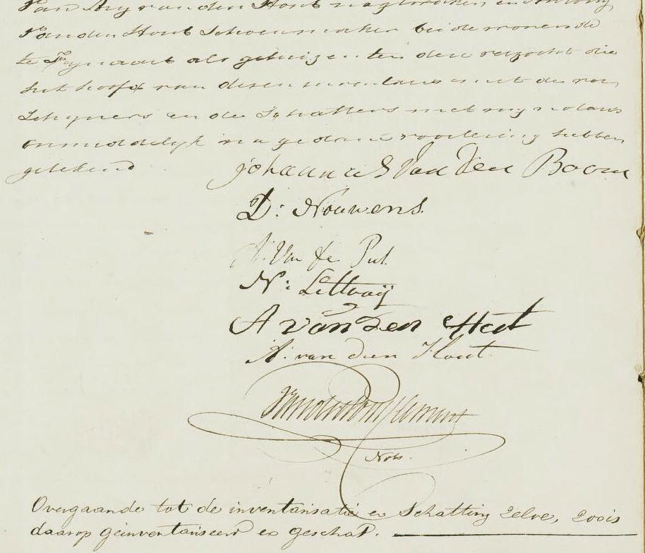 Boedelinventaris Jan van den Boom en Petronella Nouwens - mei 1850