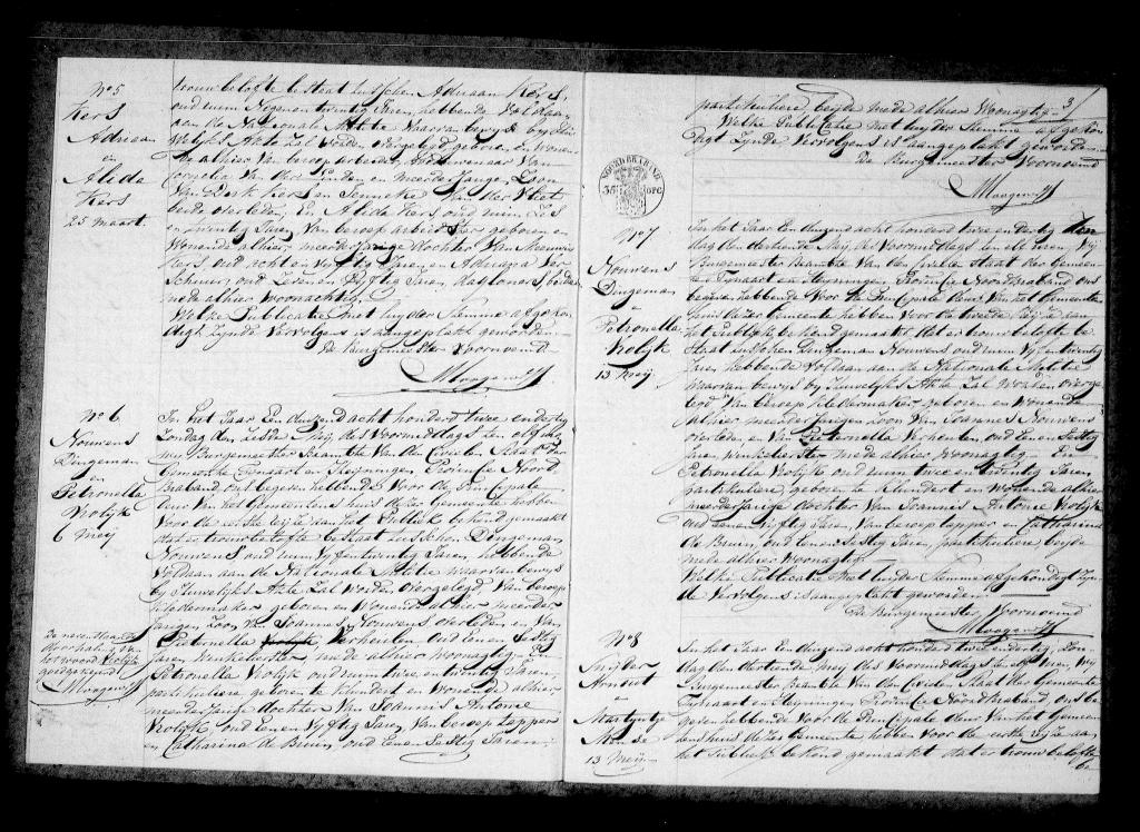 Huwelijksafkondiging Dingemannus Nouwens en Petronella Vrolijk - Fijnaart mei 1832
