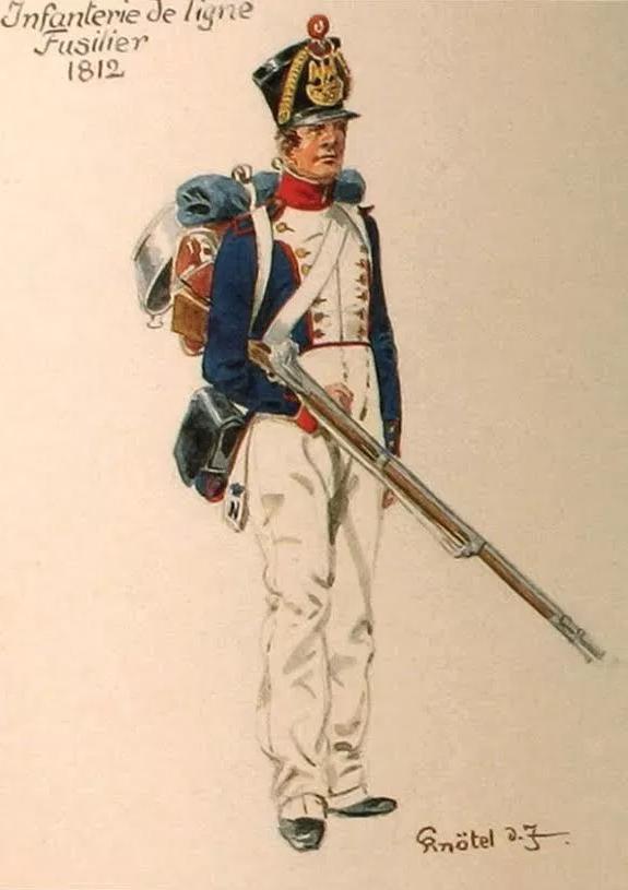 Tekening van een soldaat in Franse dienst, 1812. Bron: Legermuseum Delft