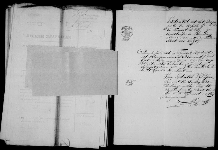 Huwelijksbijlage Dingemannus Nouwens en Petronella Vrolijk - Fijnaart mei 1832