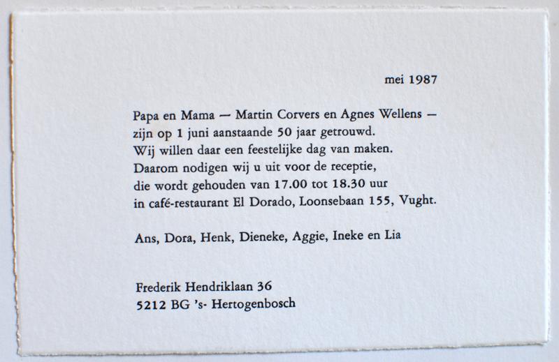 Corvers-Wellens Uitnodiging 50 jarige bruiloft - 1987