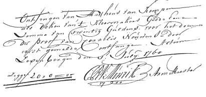 gildebetaling Cornelus Nouwens 8-7-1760